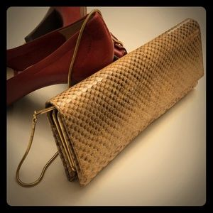 VINTAGE Snake Skin Clutch Shoulder Bag Purse